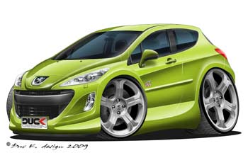 Peugeot 308 GT cartoon car