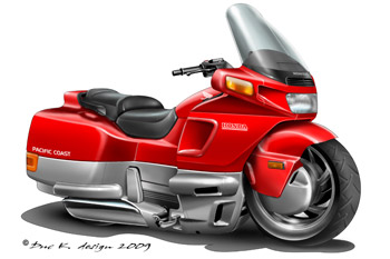 Honda PC800 cartoon motorcycle