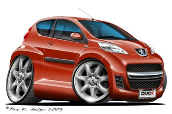 Peugeot 107 cartoon car
